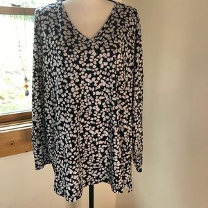 Lands End black & white tunic top long sleeve 1X